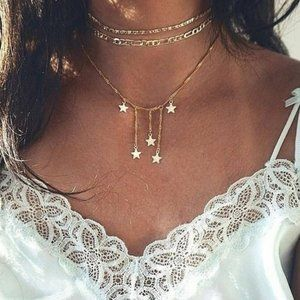 Layered Gold Falling Stars Necklace